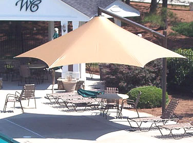 beige pool shade structures